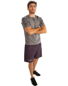 Buy Grey Half-Sleeve Mens Tee With Black Blobs From Gym Clothes Store in USA & Canada