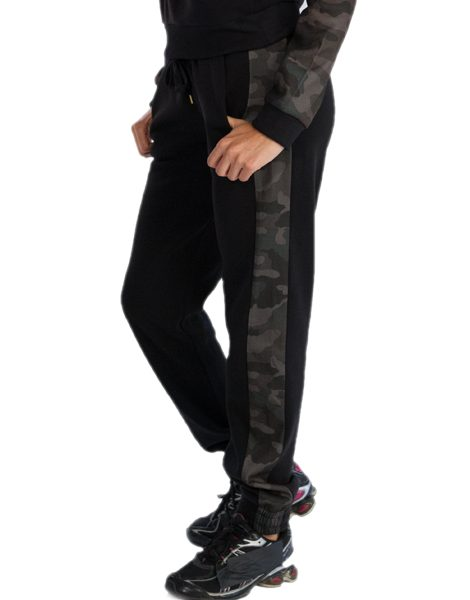 Excellent  Bodycon Black Crop Top Camouflage Print Pants Twinset For Women