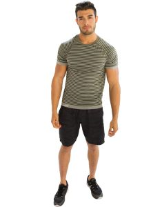 Buy Men's Striped Grey Half Sleeve T-Shirt From Gym Clothes Store in USA & Canada