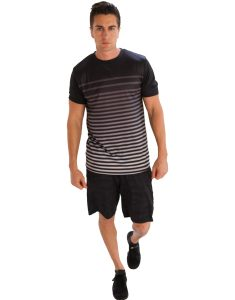 Buy Men's Black and White Striped T-Shirt From Gym Clothes Store in USA & Canada