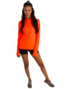 Gaudy Orange Hooded Jacket for Women Online