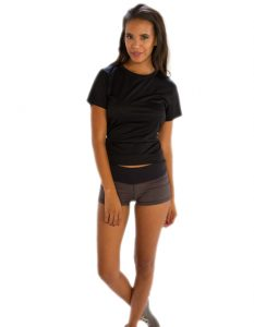 Buy Glossy Black Half Sleeve Tees for Women From Gym Clothes Store in USA & Canada