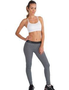 Buy Black And White Striped Gym Leggings From Gym Clothes Store in USA & Canada