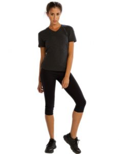Buy Grey V-Neck Half Sleeve Tees for Women From Gym Clothes Store in USA & Canada