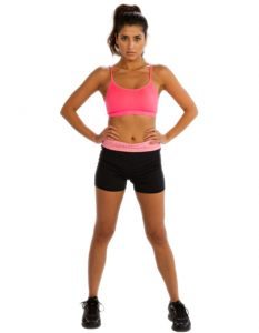 Buy Ladies Black Shorts With Pink Waistband From Gym Clothes Store in USA & Canada
