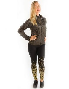 Buy Printed Gold and Yellow Leggings From Gym Clothes Store in USA & Canada