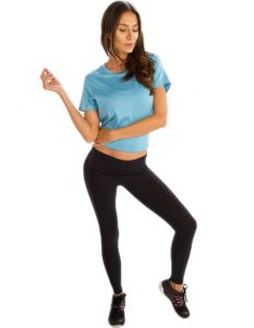 Buy Sky Blue Crop Tees for Women From Gym Clothes Store in USA & Canada