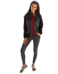Buy Women's Black-Grey Jacket with Red Border From Gym Clothes Store in USA & Canada