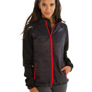 Womens Black Grey Jacket with Red Border