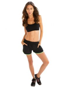 Buy Womens Black Shorts with Neon Green Piping From Gym Clothes Store in USA & Canada