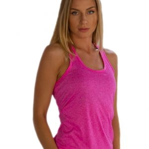 Womens Self Patterned Bright Pink Tank Tee