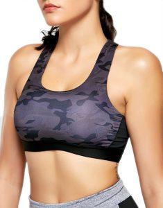 Camo Print Padded Strappy Bandage Sports Bra Online