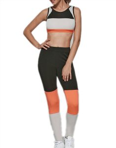 Color Spliced Stretchy Sports Suit Online