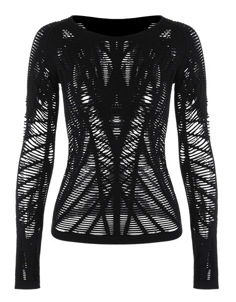 Long Sleeve Sheer Ripped Sports T-shirt