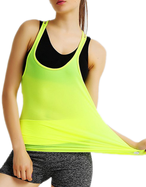 06f930afd4a Sporty Strappy Solid Color Racerback Gym Tank Top For Women