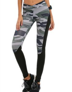 Camo Print Paneled Gym Leggings Online