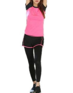 Buy Color Block Raglan Sleeve T-Shirt And Running Sports Pants From Gym Clothes Store in USA & Canada