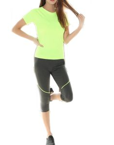 Buy Fitting Raglan Sleeve T-Shirt And Skinny Capri Pants From Gym Clothes Store in USA & Canada