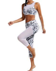 Sports Padded Bra And Mesh Panel Sheer Yoga Leggings Online
