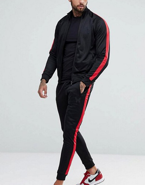 Polyester Active Track Suit With Side Stripes