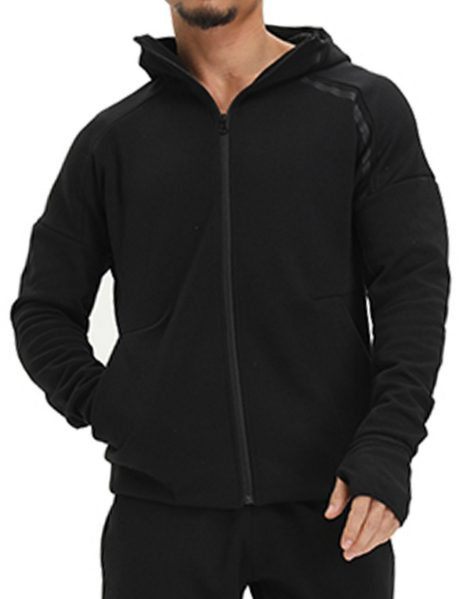 Drop Shoulder Zip Up Fitness Hoodie