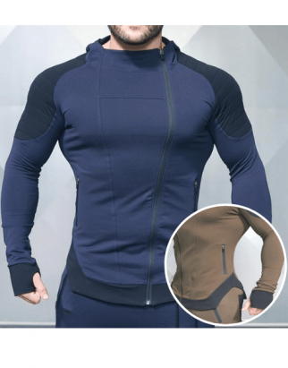 Dual Color Oblique Full Zipped Fitness Jackets USA