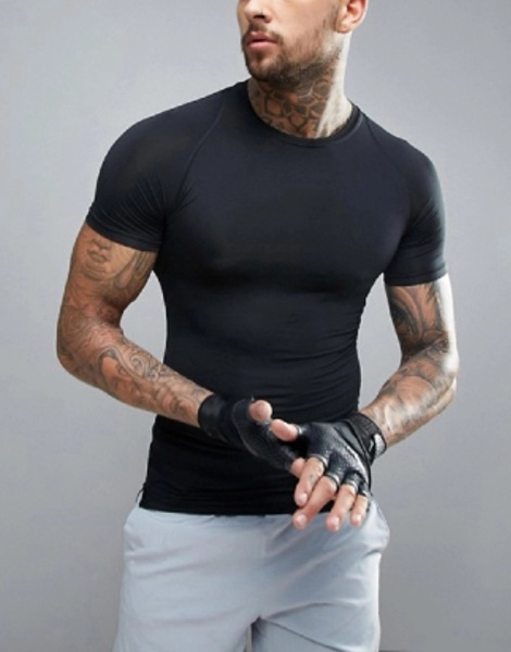 High Quality Black Compression Active Tee Manufacturer