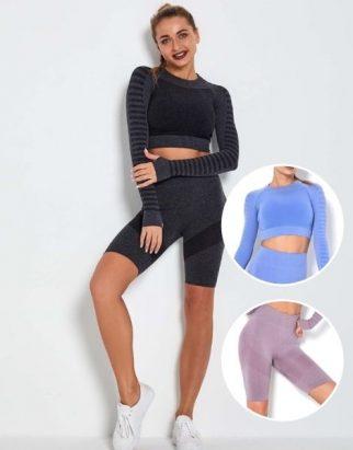 Wholesale Biker Shorts With Long Sleeve Crop Top